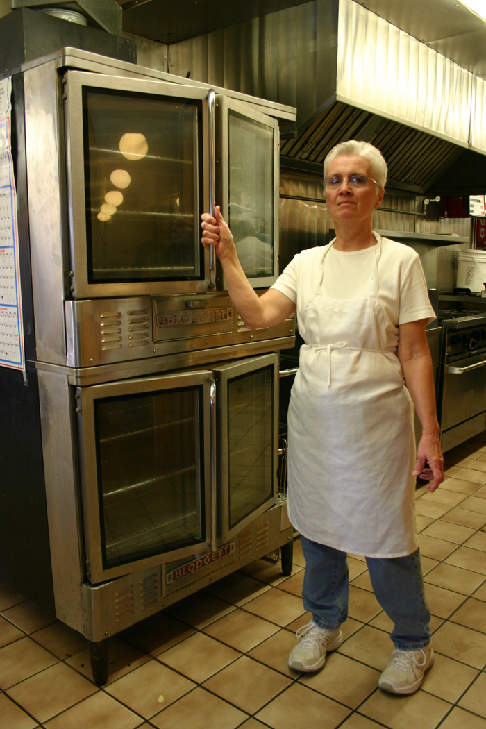 Frances Dewing in the kitchen at the Elks Lodge in Derby Thursday afternoon.