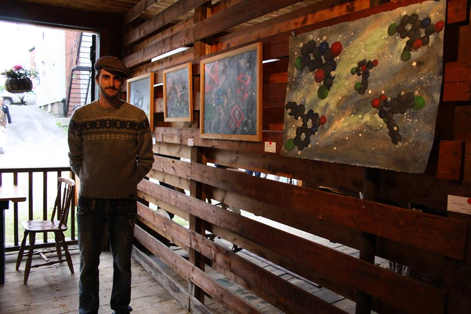 Sebastien Leblanc from Georgeville standing next to his work.