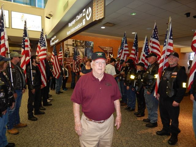 WW II veteran Joe Queenin of Derby Line taking part in an Honor Flight to Washington D.C. over the weekend.