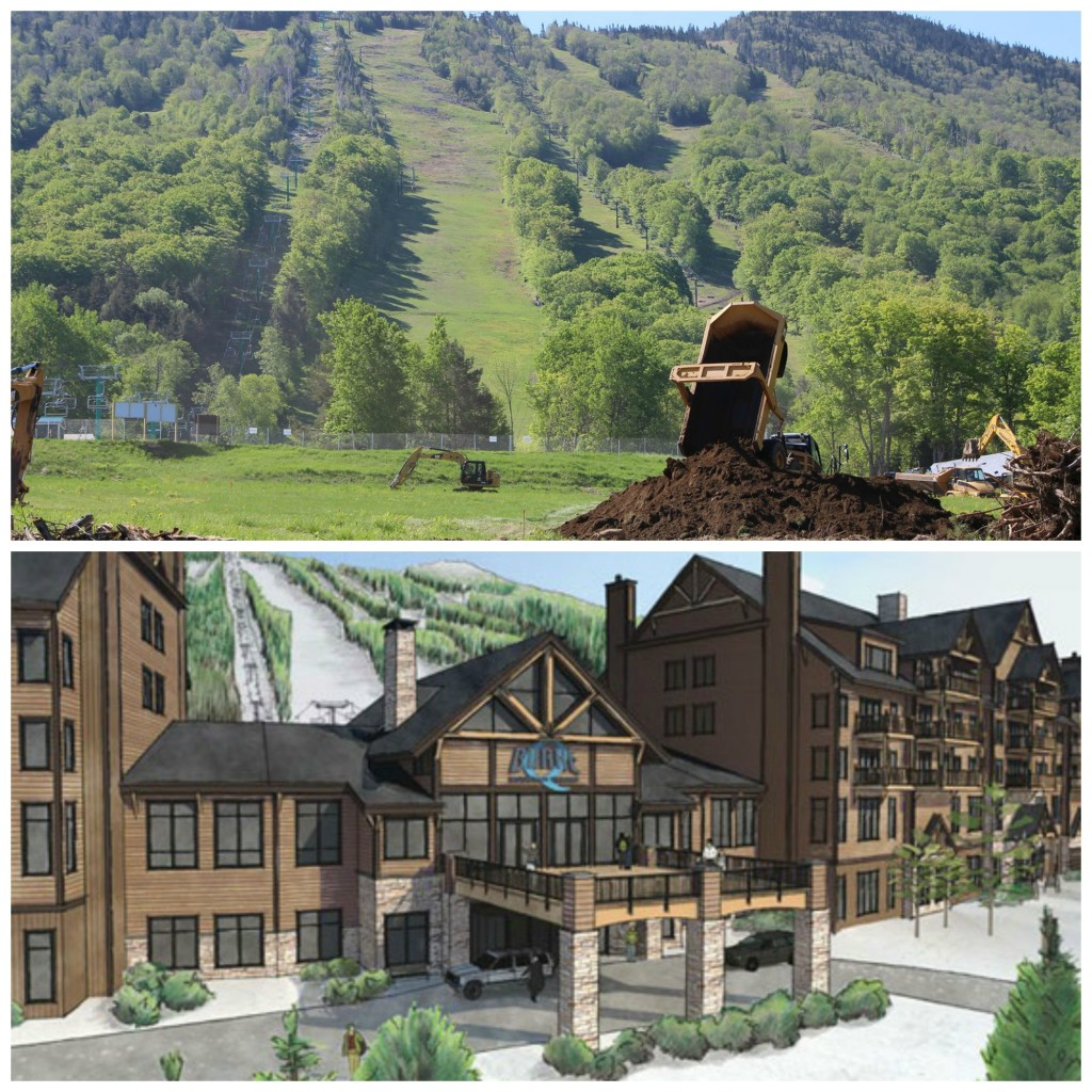 A before and after view of the new Q Burke Mountain Hotel Resort and Conference Center. Top photo by Tim Daley. Bottom courtesy of PeakCM Construction.