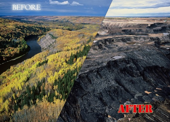 Photo showing a before and after image of the Boreal Forest, Alberta Canada, May 31, 2011.