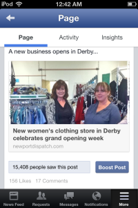Our Facebook page has the power to quickly inform over 15,000 people about your business, as this example demonstrates.