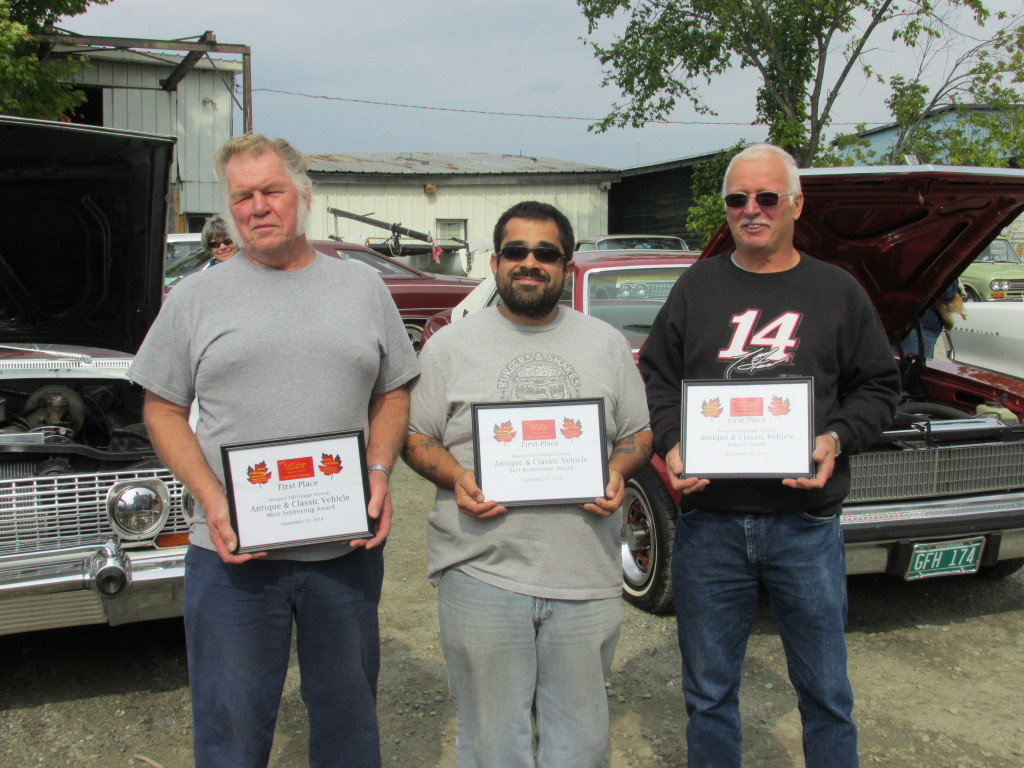 Award winners from the Newport Fall Foliage Festival Antique Car Show. From left to right:  Chick Gagnon, Kenneth Farino and Larry Gaboriault. All photos courtesy of Newport Live.