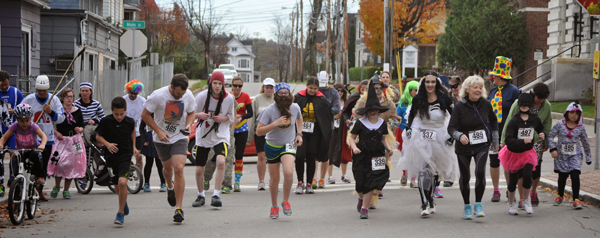 Runners in this year's Halloween Hustle at the starting line. Photos courtesy of Phil White.