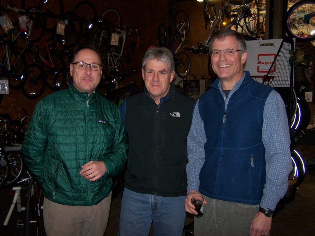 Bill Rivard, Principal at NCUHS, Herb Maroot, Industrial Arts teacher at NCUHS and Mike Kiser, recently retired Athletic Director at NCUHS, all active skiers, cyclists and outdoor enthusiasts, were in attendance at Friday night's potluck held at The Village Bike Shop.