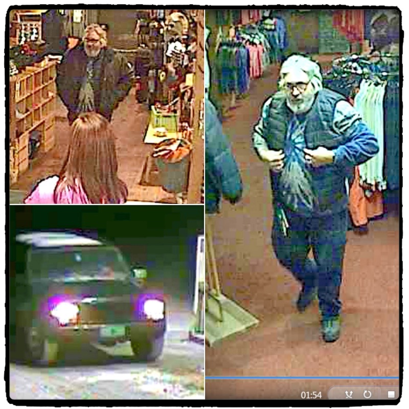 Police were looking to identify the man in the photos seen leaving the Jay Country Store in a vest he did not purchase.