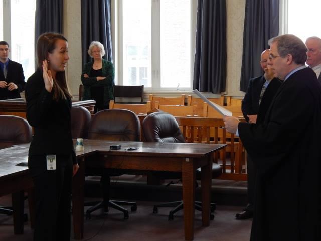 Barrett being sworn in on Monday in Newport. Photo by Scott Wheeler.