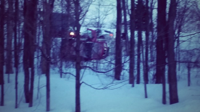 The crash in Derby Line on Wednesday evening as seen from Stanstead, Quebec. Photo taken by Josh Hilliker.