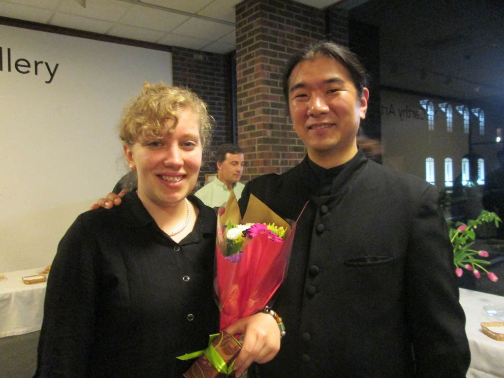 Conductor Dr. Yutaka Kono with Saigelyn Green after the BCO concert on Saturday. She received a standing ovation for her composition.
