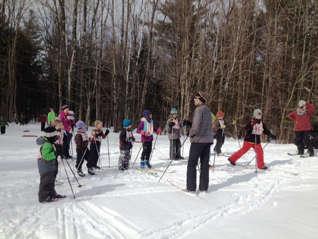 Local elementary school children learn cross country ski skills at the after school Bill Koch Youth Ski League at MSTF.