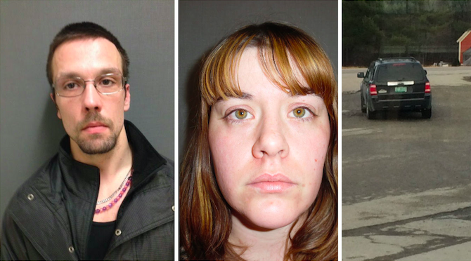 Anthony J. Bolio, 29, of Derby, and Melissa Leonard, 28, of Derby, were picked up in Derby Line on Tuesday. Police say a surveillance photo of the vehicle used in the robbery led to numerous tips in the case. All photos courtesy of the Vermont State Police.