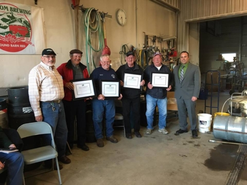Pictured L-R (Dave Ladd, VAST Awards Committee Chairman; Ernest Choquette, Country Riders Snowmobile Club; Raymond Rodrigue, Orleans Snowstormers; Marshall Bowman, North Country Mountaineers; Merle Young, Glover Trailwinders; Roger Gosselin, VAST Orleans County Director.