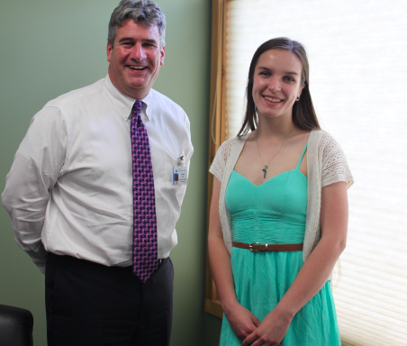 Emily Klar talks about her goal to attend UVM Summer Academy with Claudio Fort, President & CEO of North Country Hospital.