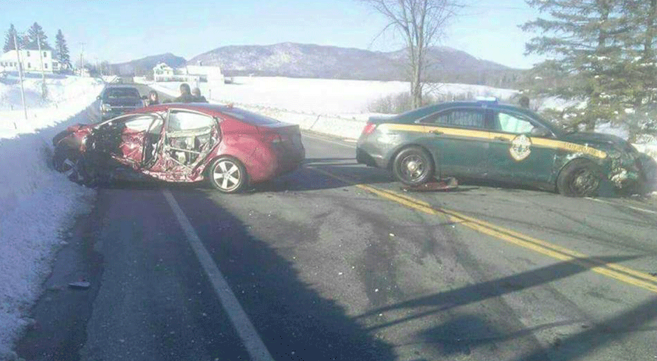 State police cruiser crashes into newport driver newport for Vermont motor vehicle laws