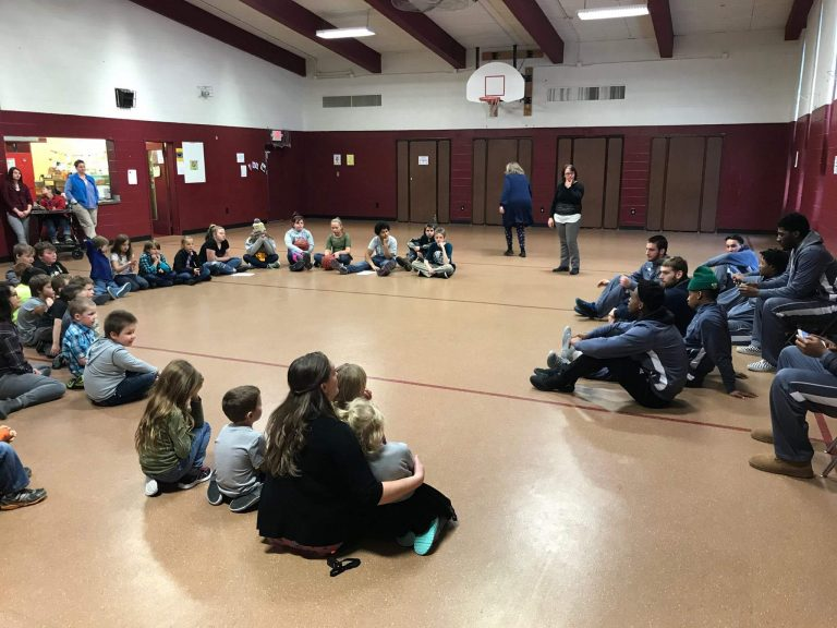 Lyndon State College men's basketball team tours local schools