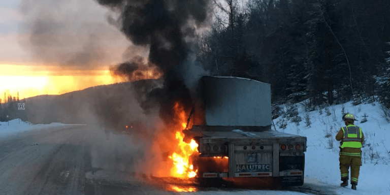 Truck catches fire on I-91 in Glover