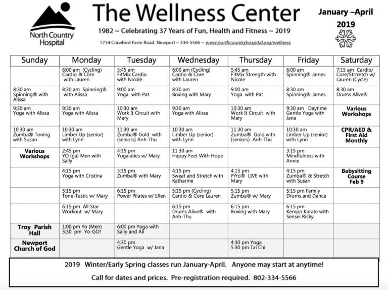 Wellness Center Calendar