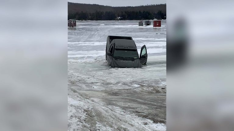 Truck through the ice on Willoughby
