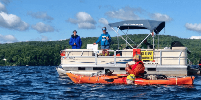 Swimmer completes record double crossing of Lake Memphremagog
