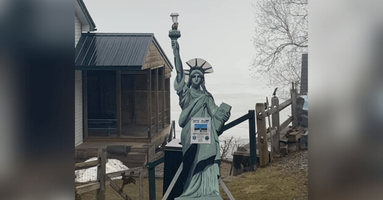 Lady Liberty has returned to West Glover for Lake Parker Ice Out contest