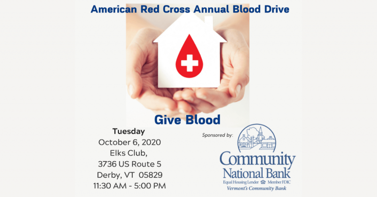 Annual Red Cross blood drive sponsored by Community National Bank in Derby on October 6