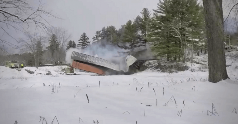 Covered bridge fire, collapse in Troy