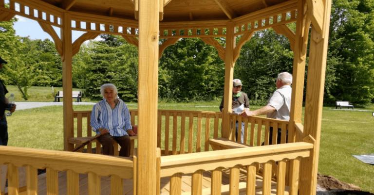 Residents enjoying new gazebo, walking area at Craftsbury Community Care Center
