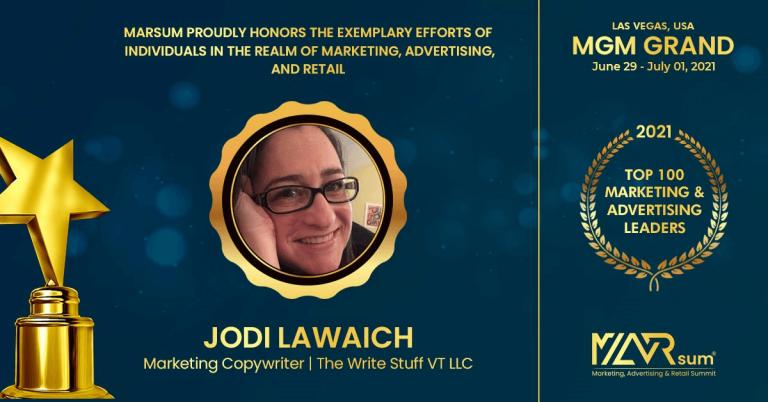 "Jodi Lawaich honored with ""Top 100 Marketing & Advertising Leaders"" award"